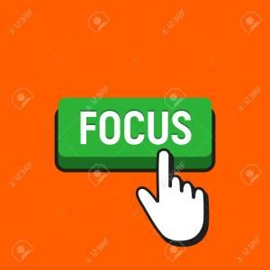 Hand Mouse Cursor Clicks the Focus Button. Pointer Push Press Button Concept.
